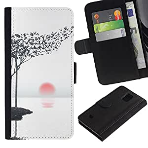 KingStore / Leather Etui en cuir / Samsung Galaxy S5 Mini, SM-G800 / Hojas Arte Aves Negro Blanco Rojo Sun;