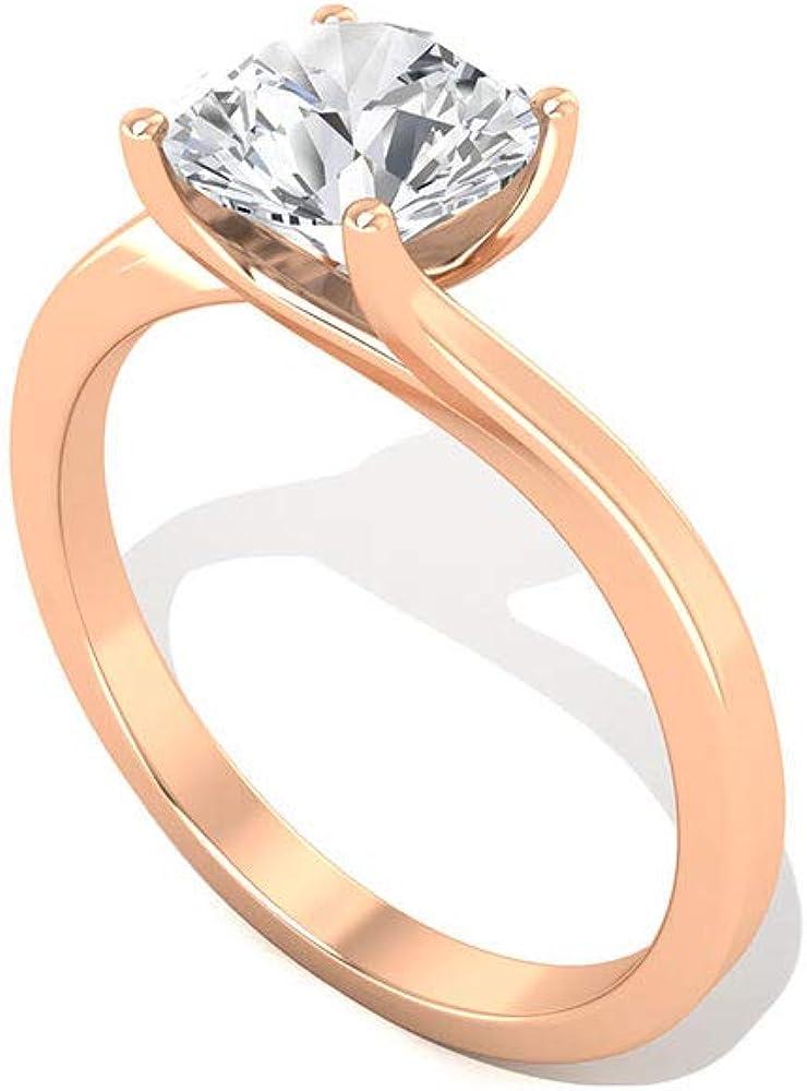 Anillo solitario redondo de 1,3 quilates, piedra preciosa, anillo de compromiso, clásico de novia, anillo de declaración retorcida, regalo de San Valentín para mujeres