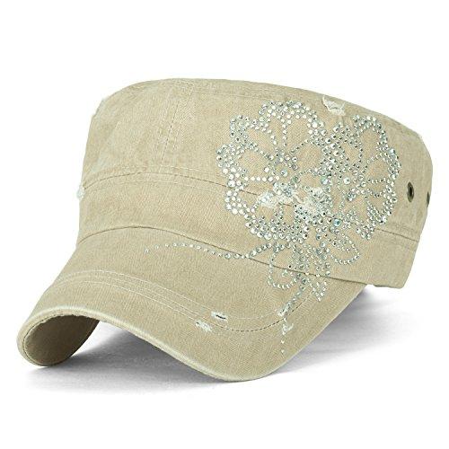 ililily Stud Flower Trim Vintage Distressed Cotton Military Army Hat Cadet Cap, Khaki