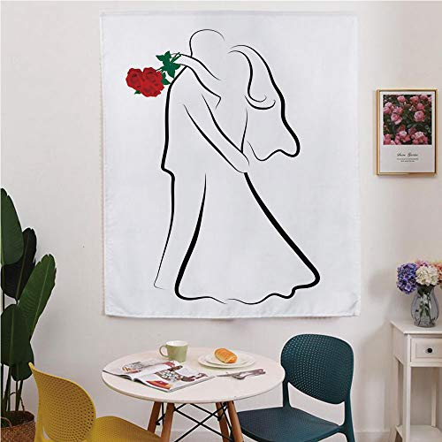 (Wedding Blackout Window curtain,Free Punching Magic Stickers Curtain,Classical Simple Silhouette of Wedding Couple In Love Red Roses Happy Moments Decorative,for Living Room,study, kitchen, dormitory,)