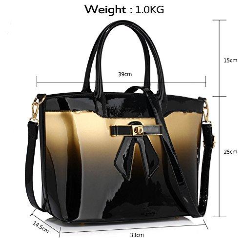 Trend Star Mujer grandes bolsillos Bolsos Mujer Hombro konstrukteur piel sintética Z - Gold