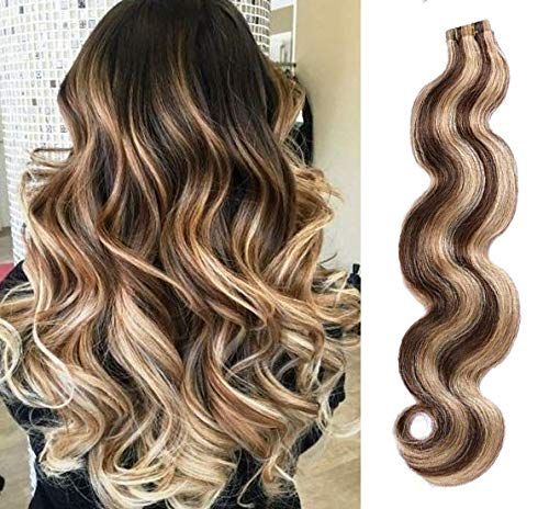 Highlighted Tape in Hair Wavy Remy Human Hair Extensions 18inches #4 Medium Brown with #27 Strawberry Blonde Mixed Color 40g 20pcs Body Wave Seamless Skin Wefts Glue in Extensions(#4/27)