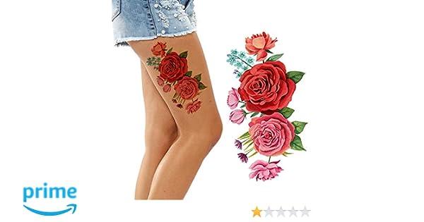 ae257ce1d Amazon.com: Large Big red Pink Roses Flower Flora Temporary Tattoos Adult Women  arm Shoulder Legs Stick on Female Body Art Sticker Temp Tattoo Transfer ...