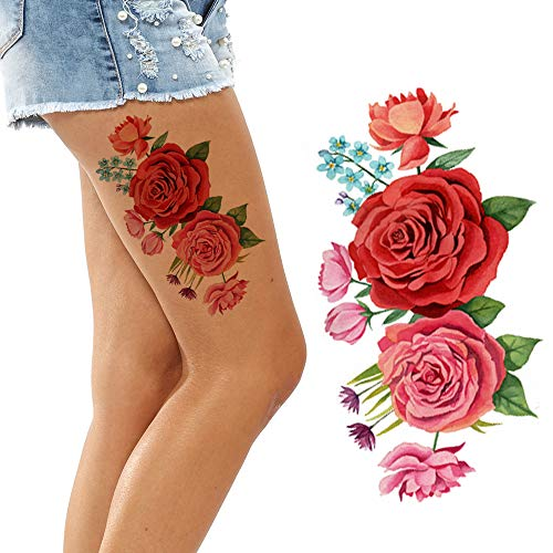 Flowers Temporary Tattoos for Women Big and Small Roses Adult Temp Stick on Body Art Transfer (Red Pink Rose)