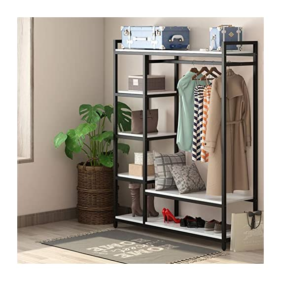 LITTLE TREE Free-Standing Closet Organizer,Heavy Duty Clothes Rack with 6 Shelves and Handing Bar, Large Closet Storage Stytem & Closet Garment Shelves,White - Incredible Weight Capacity : Heavy duty metal frame combine with thick particle board makes the it super stable and sturdy, no wobble and collapse. The Weight capacity is 350 lb. Ideal for being a long-term closet storage organizer. Large Storage Solution : 2 large shelves and 4 small ones ensure you plently of room to place clothes, accessries, shoes etc. The garment rods hold up 50 lb. For hanging your dress and suits. And put large box on the top for added storage. Freestanding & Portable Closet: The portable storage organizer perfect for clothes and shoes in cramped closets. Making small spaces more functional. Simple and chic design adds instant storage to any room. Easily transport your freestanding wardrobe. - hall-trees, entryway-furniture-decor, entryway-laundry-room - 51xFZHrBFCL. SS570  -