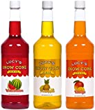 Lucy's Shaved Ice Snow Cone Syrup - Watermelon, Pineapple, Mango - 32oz Bottles (Pack of 3) (Tropical Pack)