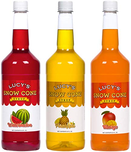 Lucy's Shaved Ice Snow Cone Syrup - Watermelon, Pineapple, Mango - 32oz Bottles (Pack of 3) (Tropical Pack) (Snow Cone Mix)