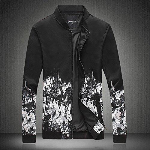 Hombres chaqueta casual primavera y otoño e invierno hombre de personalidad un simulacro de cuello Hombres Chaquetas Chaquetas chaqueta casual de Sau, flores blancas ,5XL