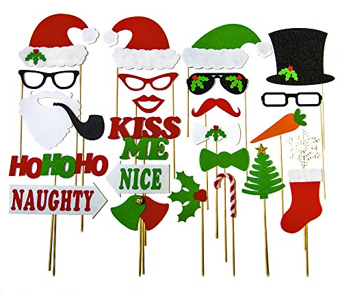 - Christmas Photo Booth Props - Holiday Photo Booth Featuring Santa Clause Frosty Snowman Naughty Nice Style Props - Fun Party Photobooth by KraftX