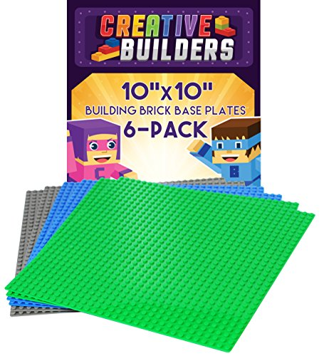 Creative Builders   Set Of 6 Green Blue Grey Base Plates   Large 10  X 10    Lego Compatible