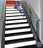 Stair Stickers Wall Stickers,13 PCS Self-adhesive,Eagle,Colors of the American Flag Red White Blue Bird Symbol of America Loyalty,Navy Blue Red White,Stair Riser Decal for Living Room, Hall, Kids Room