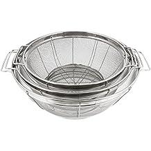 "U.S. Kitchen Supply - 3 Piece Colander Set - Stainless Steel Mesh Strainer Net Baskets with Handles & Resting Base - 11"" 5 Quart, 9.5"" 4 Quart and 8.5"" 3 Quart - Strain, Drain, Rinse, Steam or Cook"