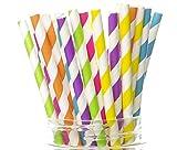 Hawaiian Luau Straws, Hawaii Party Supplies (25 Pack) - Polynesian Tropical Hula Island Straws, Luau Party Decorations, Striped Beach Wedding Party Straws