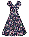 MUXXN Womens Retro 1950s Wrap V-Neck Ruched Waist Flower Casual Dress (Blue Rose S)