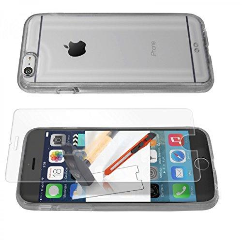 Schutz Hülle + PANZERFOLIE für Apple iPhone 6 Plus (5,5 Zoll) Case Tasche Cover Schutztasche Handyhülle Bumper TPU Silikon Acryl Glas Folie klar transparent schwarz