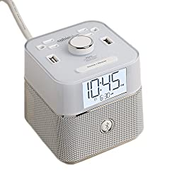 CubieBlue White Charging Alarm Clock with Bluetooth Speaker - USB & Power Outlets