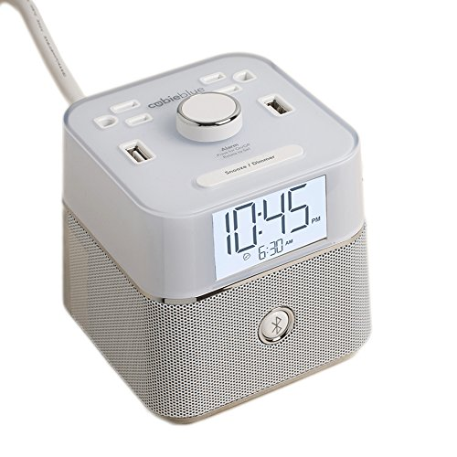 Brandstand | CubieBlue White | User Friendly & Convenient Alarm Clock Charger | 2 USB Ports | 2 Tamper Resistant Sockets | Brandstand Bluetooth Speaker (Ie Brille)