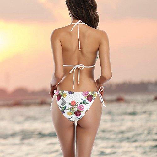 COOSUN Kolibris mit Blumen-Bikini-Badeanzug Tie Side Gepolsterte Bikini-Badebekleidung zwei Stücke Badeanzug Mehrfarbig Z2dfd4nns