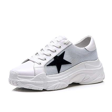 HNShoes Mujer Mocasines Mocasín Casual Confort Colegio Cuña Deportes Zapatillas con Cordones Zapatos Plataforma Blanco Primavera
