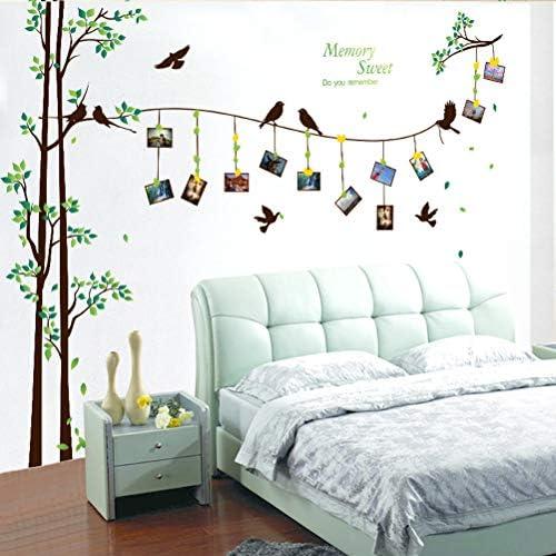 VORCOOL Wandtattoos Kunst Aufkleber Wasserdichte Familie Foto Rahmen Baum und Vögel Muster für Home Küche Schlafzimmer Wohnzimmer Dekor