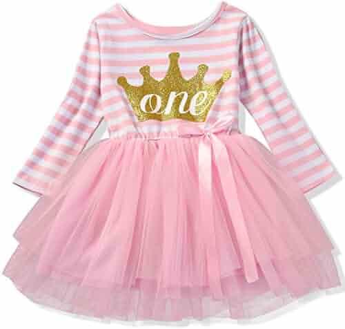 NNJXD Girl Shinny Stripe Baby Girl Sleeveless Printed Tutu Dress