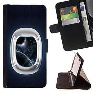 - Space Window - - Prima caja de la PU billetera de cuero con ranuras para tarjetas, efectivo desmontable correa para l Funny HouseFOR Samsung Galaxy Note 4 IV