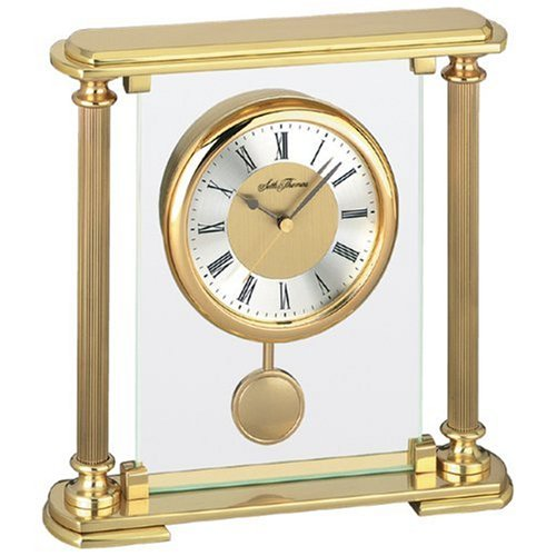 Gold Goldtone and Glass Mantel Clock ()