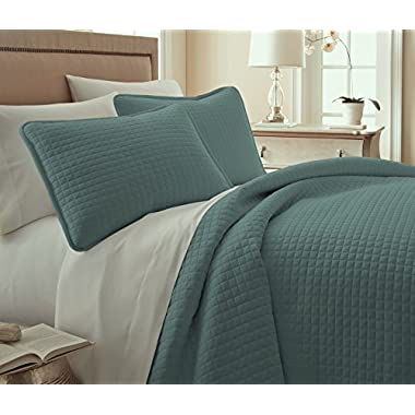 Southshore Fine Linens 3 Piece Oversized Quilt Sets, Steel Blue) Teal
