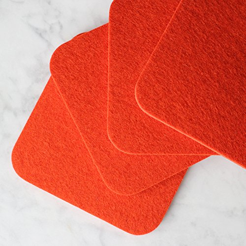 Premium Felt Drink Coasters - 100% Merino Wool from Germany - 5mm Thick - Soft - 19 Colors - Durable - Made in the USA - SATISFACTION GUARANTEE (Burnt (Burnt Orange Glass)