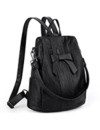 UTO Women ANTI-THEFT Backpack Purse PU Washed Leather Convertible Ladies Rucksack Bowknot Shoulder Bag CA