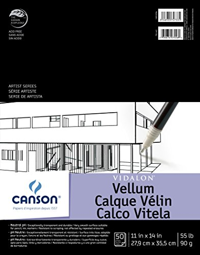 Canson Artist Series Vidalon Vellum Paper Pad, Translucent and Acid Free for Pencil, Ink and Markers, Fold Over, 55 Pound, 11 x 14 Inch, 50 Sheets (Vellum Clear)