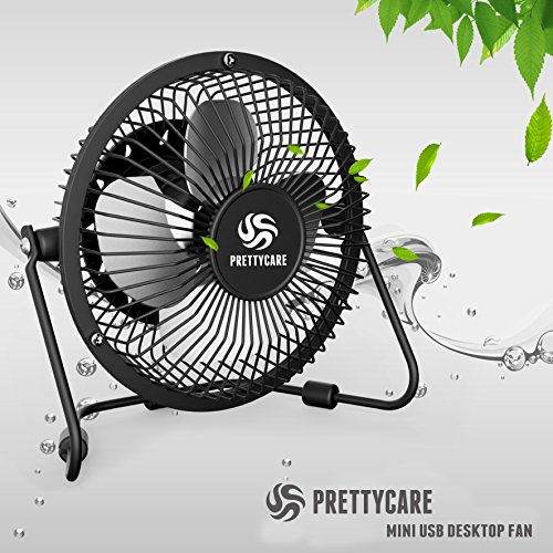 PrettyCare USB Desk Fan (Powerful Airflow/A Free Adapter) Personal Mini Fan - Small Table Fan Pedestal/Air Radiator Laptop, Quiet Portable Desktop Tabletop Floor Office Room Travel by PrettyCare