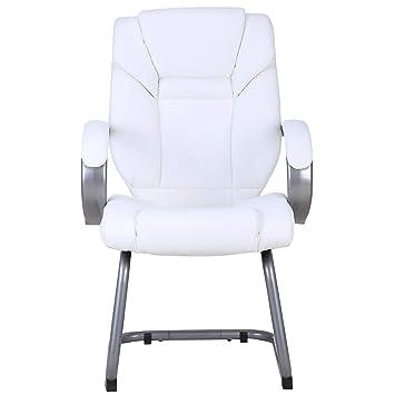 Chaise Visiteur Fiji Habillage Cuir Blanc