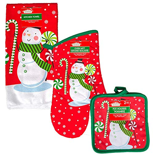 Pot Snowman Holder - Christmas House Snowman Kitchen Towel,Oven Mitt and Pot Holder 4 Piece Kitchenware Set