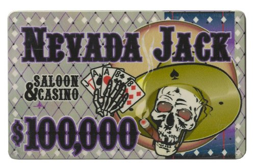 $100,000 Nevada Jack 40 Gram Ceramic Poker - Chip Ceramic Plaque Poker