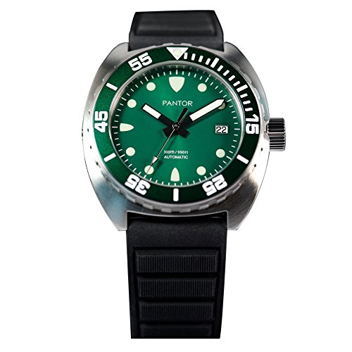 Price comparison product image Pantor Sealion 300m Pro Dive Automatic Watch with Helium Valve Green Dail Sapphire Stainless Steel Rotating bezel rubber strap