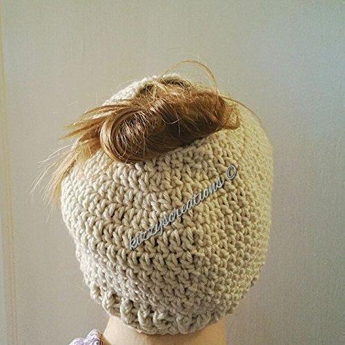 Messy Bun Ponytail Crochet Hat