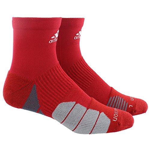 Adidas Tennis Socks Crew (adidas Traxion Menace Basketball/Football High Quarter Socks (1-Pack), Power Red/Onix/Light Onix/White, Large)