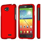 LG Optimus L70 (Metro PCS) Slim Light Hybrid Snap On Non-Slip Matte Hard Case Protex Rubberized Rubber Coating Protective Case - Red - Retail Packaging