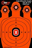 EasyShot Triple Silhouette Shooting Targets | High-Vis Orange | Maximum Downrange Visibility | Bright and Colorful |Best Quality Guarantee || 150 Repair Stickers | Multi-Zone | Sturdy | Size 18