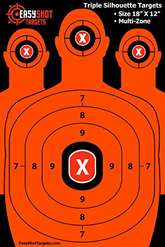 EasyShot-Triple-Silhouette-Shooting-Targets-High-Vis-Orange-Bright-and-Colorful-Maximum-Downrange-Visibility-Best-Quality-Guarantee-150-Repair-Stickers-Multi-Zone-Sturdy-Size-18X12