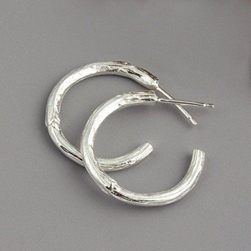 - Sterling Silver Botanical Twig Hoop Earrings