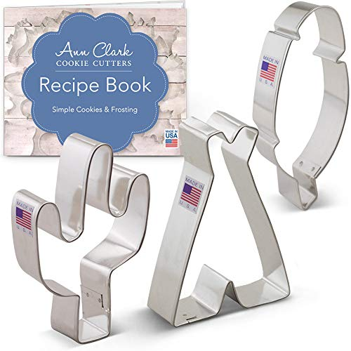 - American Southwest Cookie Cutter Set with Recipe Booklet - 3 Piece - Cactus, Teepee, and Feather - Ann Clark - US Tin Plated Steel