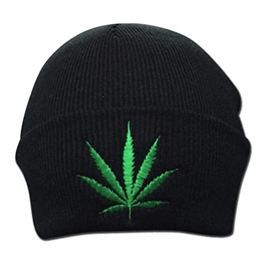 Amazon.com  Weed Leaf Cannabis Clothing Embroidered Marijuana Beanie ... 7bad6971cd9a