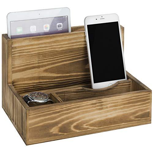Rustic Torched Wood Smartphone & Tablet Cradle Valet, Tabletop Charging Station, Brown