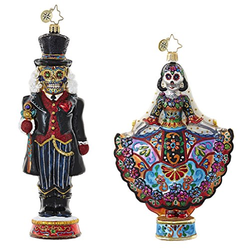 Christopher Radko Day Of The Dead Sugar Skull Themed Figurine Glass Christmas Ornaments - Bundle Includes One La Novia Muerta & One Dia De Los Cracker Ornaments for $<!--$150.00-->