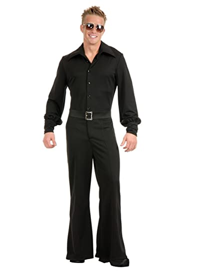 70s Costumes: Disco Costumes, Hippie Outfits Charades Adult Mens Black Studio 54 Disco Jumpsuit Costume $35.53 AT vintagedancer.com