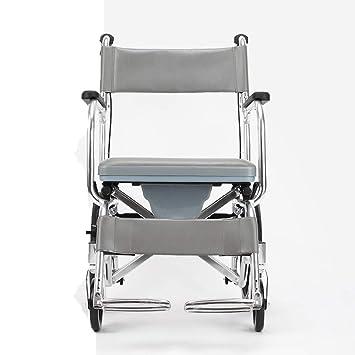 Shisky Silla de Ruedas de aleación de Aluminio Carro Plegable portátil para Personas Mayores multifunción portátil para discapacitados Puede Tomar un baño: ...