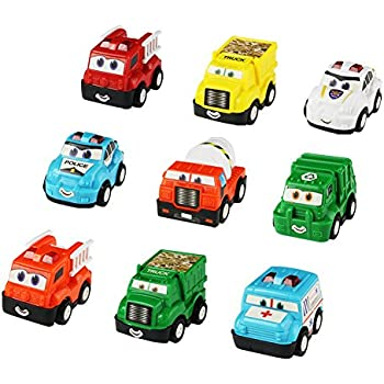 Pull Back and Go Vehicles Toy Car Party Favors Construction Trucks 9 Pcs Friction Power Car Toys for Kids Toddlers Girls Boys over 3 years old