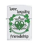 Zippo Custom Lighter - Claddagh Love Loyalty Friendship Heart - Regular White Matte